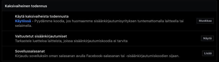 2-vaiheinen todennus facebookissa